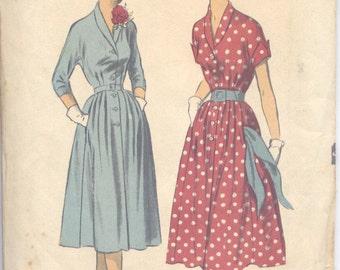 Vintage 50s Button Up Dress Pattern- Advance 5797- Bust 34 Size 16