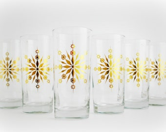 Gold Snowflake Glasses - Set of 6 Holiday Glasses, Snowflake Glassware, Holiday Glassware, Christmas Glasses, Metallic Gold Holiday Glasses