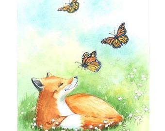 Fox Nursery Print - Woodland Fox Nursery  -  Fox Print - Fox Wall Art - Watercolor Fox
