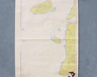Vintage Nautical Sea Map Gallipoli Pull Down Map 1979 Made in Turkey 1970's Sea Sailing Map Geography