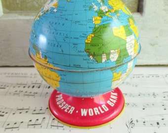 Vintage Ohio Art Tin Litho Globe - World Bank / As You Save / So You Prosper