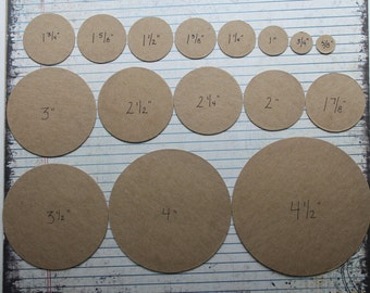 50 cardboard circles die cuts blank chipboard/cardboard [choose from 3/4 inch to 5 inches]
