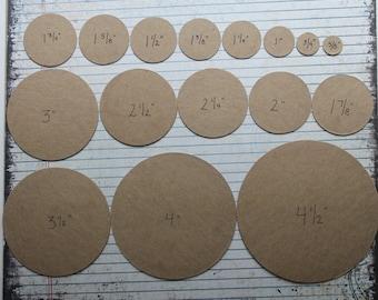 """50 cardboard circles die cuts blank chipboard/cardboard [choose from 3/4"""" to 5 3/4""""]"""