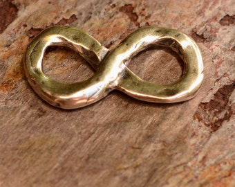 Artisan Sterling Silver Infinity Link, Rustic Figure 8 Connector
