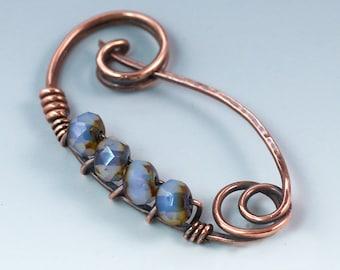 Copper Shawl Pin / Copper Scarf Pin / Lavender Czech Glass Pin / Copper Sweater Pin / Copper Fibula / Womens Gift