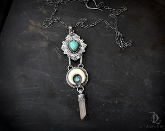 BadLands // Wonderlust Series // Sterling Silver, Turquoise, Quartz and White Crescent Moon Metalsmith Necklace by BellaLili