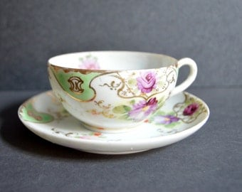Vintage Hand Painted China Teacup and Saucer -MADE in JAPAN Porcelain Fine Bone China High Tea Bridal Shower Decor Gold Green Purple Floral