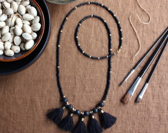 Black Tassel Necklace, Black and Gold Necklace, Single Strand Necklace, Matte Black, Matte Gold , Brass Long Beaded Necklace, Boho Jewelry