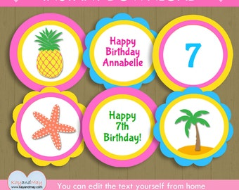 Luau Party Cupcake Toppers / INSTANT DOWNLOAD Luau birthday toppers / printable luau decorations #P-22-cupcake -you can edit text from home