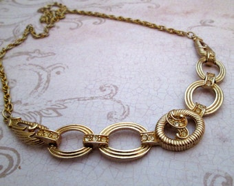 Sarah Coventry Necklace, 1970s, Vintage Sarah Coventry Rhinestone, chain necklace, gold chain necklace, rope necklace, sarah cov jewelry