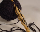 Hand Turned Exotic Black and White Ebony a Hand Made Wooden Crochet Hook Made in USA by Texas Artist Bryan Nelson