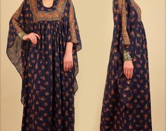 ViNtAgE 70's Indian Cotton Maxi Dress RARE Angel Wing India Imports of Rhode Island Adini Floral Bohemian Maxi Hippie BoHo Festival S/M