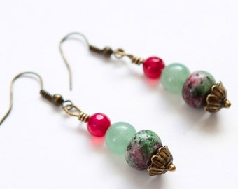 Boho Ruby Zoisite Earrings with Pink Agate and Aventurine in Antiqued Bronze