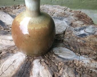 White Tan Brown Bud Vase