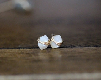 Mother Of Pearl Studs ,  Petite White Gemstone Post Earrings in Gold , Rose Gold , Sterling Silver , Geometric Natural Stone - Pike