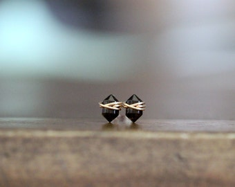 Smoky Quartz Studs , Petite Chocolate Gemstone Post Earrings in Gold , Rose Gold , Sterling Silver , Geometric Natural Stone - Pike