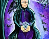 Wall Art Purple Painting of Wise Woman of the Sacred Raven by the Full Moon Acrylic Painting by Tessimal
