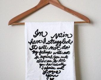 "Jane Austen Quote Tea Towel. Mr. Darcy's Proposal ""In vain have I struggled"". Pride and Prejudice. MADE TO ORDER"