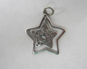 Sterling Silver Double Star Pendant or Charm