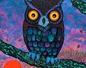 """Harvest Moon Owl 18"""" x 24"""" Acrylic Painting on Canvas by Mister Reusch"""