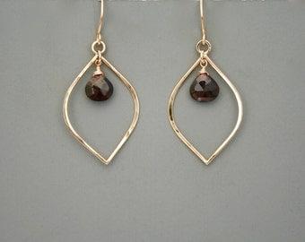 Gold filled leaf earrings with deep red garnet, Rachel Wilder Handmade Jewelry
