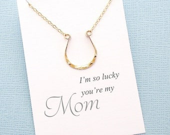 Gift For Mom | Horseshoe Necklace, Horseshoe, Layering Necklace, Everyday Necklace, Birthday Gift, Dainty, Horse | Silver, Gold, Rosegold