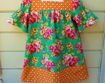 Toddler Girls Square Necked Dress, Ready to Ship in Size 4T or Made to Order in sizes 1T through 4T