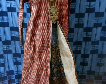 Sale! Fine antique Ottoman Syrian woman's over robe. Silk ikat, full length, tailored, antique