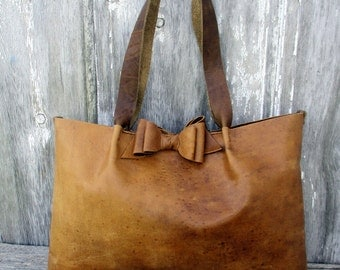 Rustic Romantic - Distressed Leather Bow Tote Bag -  by Stacy Leigh