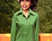 vintage 70s blouse FLORAL women's shirt button down appalachian craftsmen butterfly collar preppy Medium 12