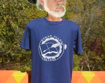 vintage tee shirt 80s ETHAN ALLEN college furniture danbury connecticut t-shirt Large XL soft navy