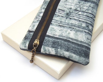 Clutch purse, bag with zip, iPhone pouch, cosmetics bag, feather and trees