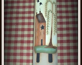 Primitive Sheep Saltbox House Willow Tree Wood Rolling Pin Kitchen Home Decor