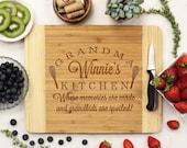 Personalized Cutting board, Custom Cutting Board,  Grandma's Kitchen Cutting Board, Custom Engraved Bamboo --21057-CUTB-001
