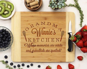 Personalized Cutting Board, Custom Cutting Board, Engraved Cutting Board,  Mother's Day Grandmother's Grandma Bamboo Wood --21057-CUTB-001
