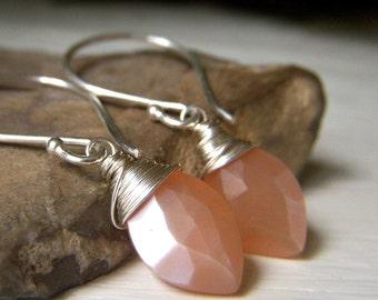 Peach Moonstone Earrings Sterling Silver, Petite Wirewrapped Gemstone Dangle Briolette, Moonstone Jewelry Minimalist Marquis Marquise