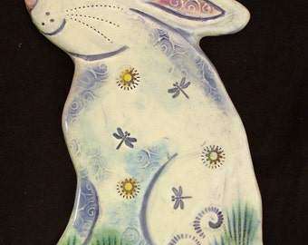 Ceramic White Rabbit wall hanging for home or garden
