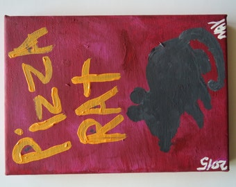 PIZZA RAT Original Word Art Folk Painting Canvas Quote