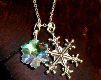 SNOWFLAKE Magical Wishes with a Aurora Swarovski Crystal Sterling 925 Necklace Nc2232,  Dream, Winter, Snow, SRA by Lynn