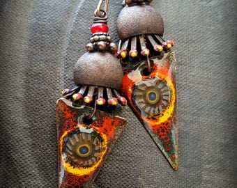 Flowers, Enamel Earrings, Torched Enamel, Vintage, Funky, Artisan Made, Earthy, Organic, Beaded Earring