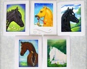 Mini Card Gift Tag Collection for Horse Foal Lover Black Bey Palomino White