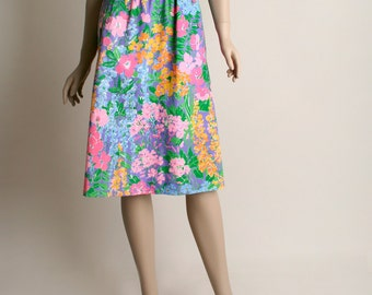 Vintage Floral Skirt - 1980s Pastel Spring Garden Cotton Flower Print Skirt - Small