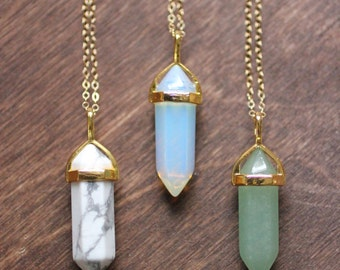 Crystal Point Stone Gold Filled Necklace - Howlite | Opaline | Aventurine