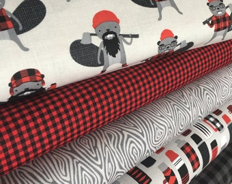 Burly Beavers Fabric Bundle of 5, Hipster fabric, Lumberjack, Animal fabric, Plaid, Robert Kaufman- Choose the cuts, Free Shipping Available