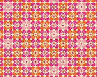 SALE fabric, discount fabric, Pink Fabric, Floral fabric by Joel Dewberry, Square Petal in Tangerine, Quilting fabric, Quilting Cotton