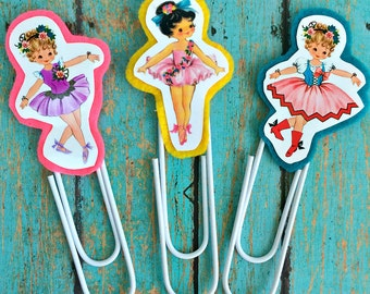 Vintage Ballerinas Jumbo Paperclip Bookmark -- Set of 3