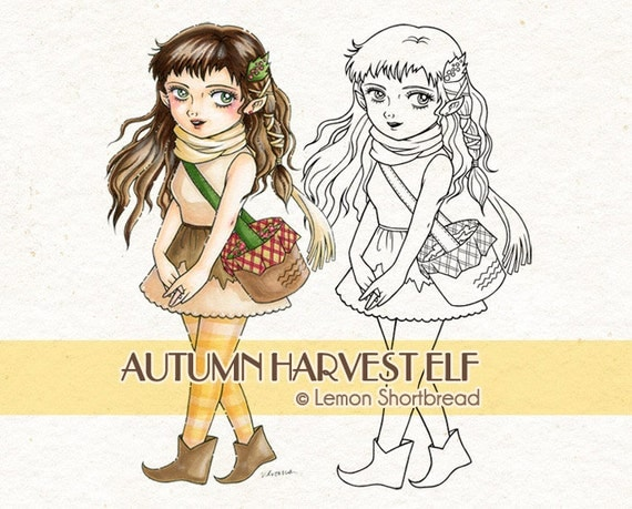 Digital Stamp Autumn Harvest Elf, Digi Fall, Fairy Girl, Fantasy Nature, Anime, Coloring Page, Scrapbooking Supplies, Instant download