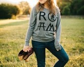 ROAM Camping Pullover Women, Adventure Wanderlust Travel Gift for Her, Gray Slouchy Long Sleeve Raglan, Womens Top Hiking Tshirt