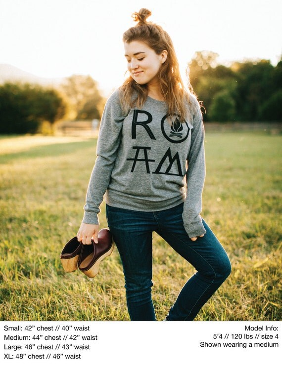 ROAM women's top - slouchy raglan pullover - long sleeved tshirt - camping and hiking print - wanderlust shirt for her - travel gift
