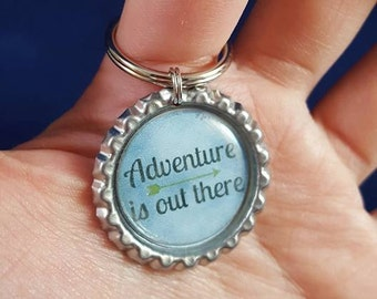 ONE 'Adventure is out there' Bottle Cap Charm Keychain